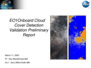EO1Onboard Cloud Cover Detection Validation Preliminary Report