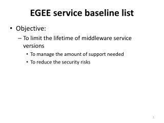 EGEE service baseline list