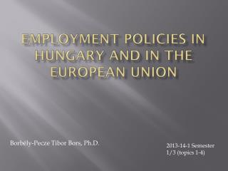 Employment Policies in Hungary and in the European Union