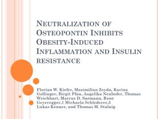 Neutralization of Osteopontin Inhibits Obesity-Induced Inflammation and Insulin resistance