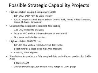 Possible Strategic Capability Projects
