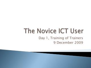 The Novice ICT User