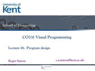 18:  Program design
