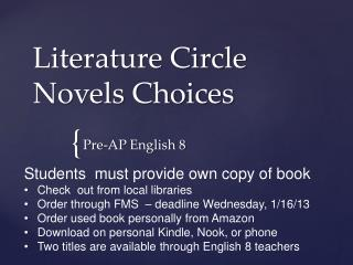 Literature Circle Novels Choices