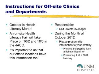 Instructions for Off-site Clinics and Departments