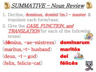 SUMMATIVE – Noun Review