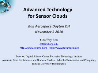 Advanced Technology  for Sensor Clouds