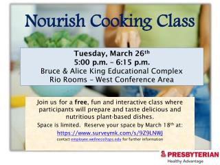 Nourish Cooking Class
