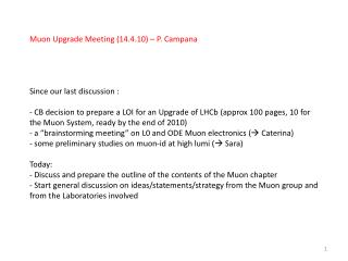 Muon Upgrade Meeting (14.4.10) – P. Campana Since our last discussion :