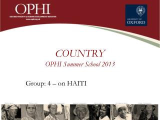 COUNTRY OPHI Summer  School  2013