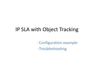 IP SLA with Object Tracking