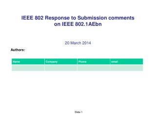IEEE 802 Response to Submission comments  on IEEE 802.1AEbn