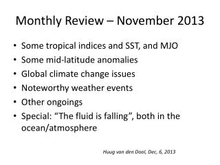 Monthly Review – November 2013