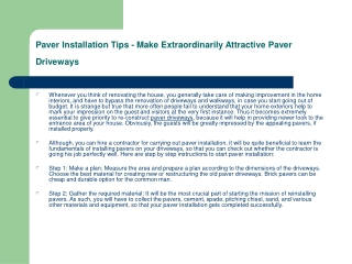 Paver Installation Tips - Make Extraordinarily Attractive Pa