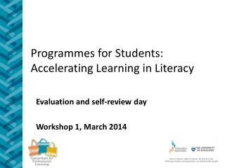 Programmes  for Students: Accelerating Learning in Literacy