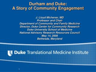 Durham and Duke: A Story of Community Engagement