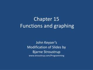 Chapter 15  Functions and graphing