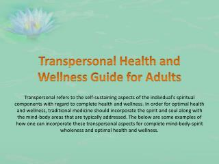 Transpersonal Health and Wellness Guide for Adults