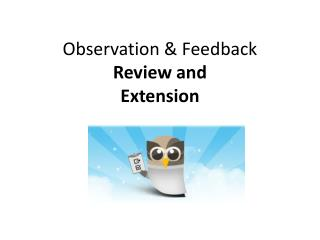 Observation & Feedback  Review and Extension
