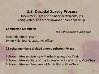 U.S. Decadal Survey Process