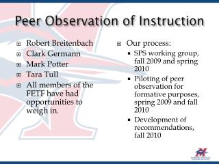 Peer Observation of Instruction