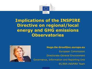 Implications  of the  INSPIRE  Directive on regional/local energy and GHG emissions Observatories