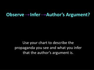 Observe     Infer     Author's Argument?
