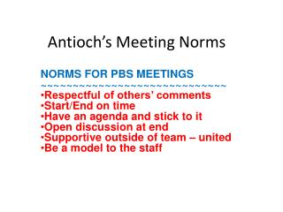 Antioch's Meeting Norms