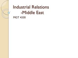 Industrial Relations -Middle East