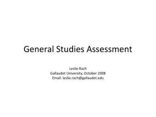 General Studies Assessment