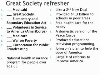 ___ Medicaid ___  Great Society ___  Elementary and Secondary Education Act