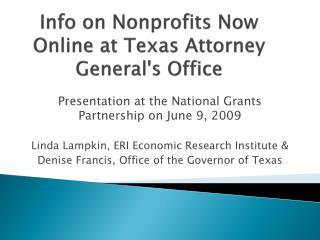 Info on Nonprofits Now Online at Texas Attorney General's Office
