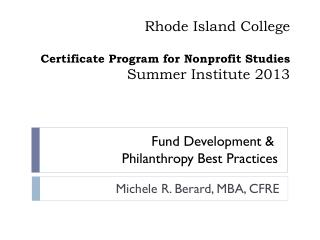 Rhode Island College Certificate Program for Nonprofit Studies Summer Institute 2013