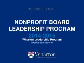 Nonprofit Board Leadership Program  2014-2015