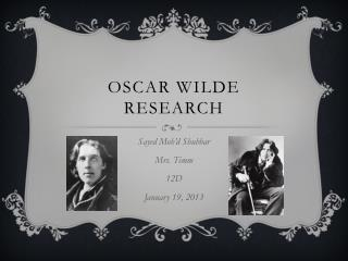 Oscar Wilde research