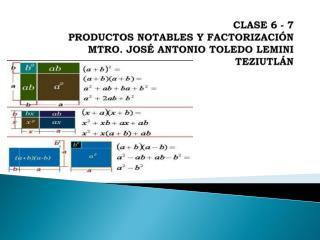 CLASE 6 - 7 PRODUCTOS NOTABLES Y FACTORIZACIÓN MTRO. JOSÉ ANTONIO TOLEDO LEMINI TEZIUTLÁN