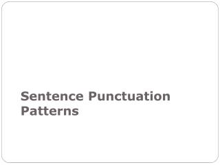 Sentence  Punctuation  Patterns