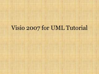 Visio 2007 for UML Tutorial