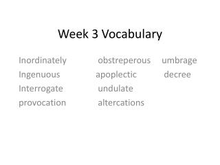 Week 3 Vocabulary