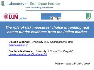 The role of risk measures' choice in ranking real estate funds: evidence from the Italian market