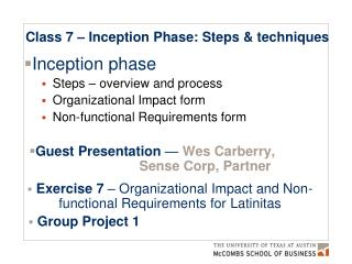 Class 7 – Inception Phase: Steps & techniques