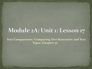Module 2A: Unit 1: Lesson 17