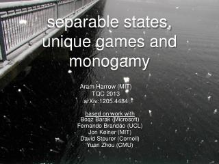 separable states, unique games and monogamy