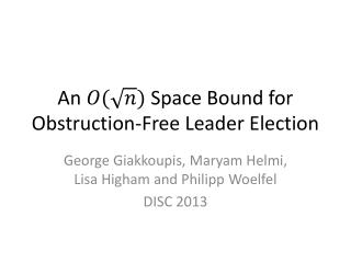 An   Space Bound for Obstruction-Free Leader Election