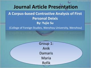 Journal Article Presentation