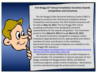 Fort Bragg 23 rd  Annual Installation Incentive Awards Competition and Ceremony