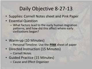 Daily Objective 8-27-13