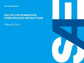 SAE Fellow Nomination  Form Process Instructions