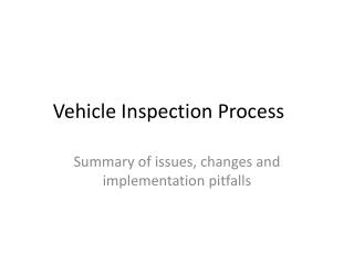 Vehicle Inspection Process