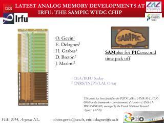 Latest analog memory developments at  IRFU: The SAMPIC  WTDC chip